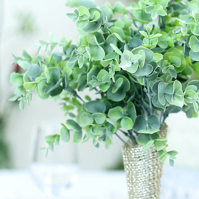 "3 Bushes | 14"" Frosted Green Flexible Faux Eucalyptus Stems"