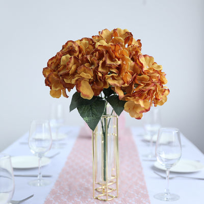 5 Bushes | 25 Heads Gold Silk Artificial Hydrangeas Arrangements Flower Bushes