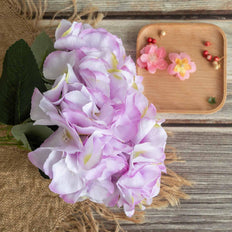 5 Pack | 25 Heads Lavender Silk Hydrangea Artificial Flower Bushes Wedding Floral Arrangements