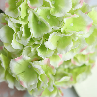 5 Bushes | 25 Heads Lime/Pink Silk Hydrangea Artificial Flower Bushes