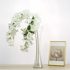 "Set of 4 | White | 41"" Tall Silk Hydrangea Stems 