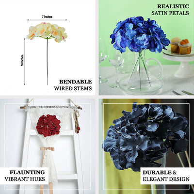 10 Pack | Lime Artificial Hydrangeas Head and Wire Stems - DIY Dual Tone Hydrangea Flower Arrangements