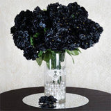 "4 Bushes 18"" Black Artificial Hydrangea Vase Decoration Flowers"