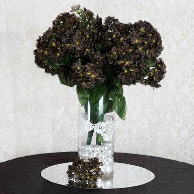 "4 Bushes 18"" Chocolate Artificial Hydrangea Vase Decoration Flowers"
