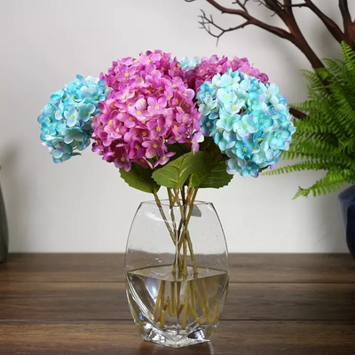 "4 Bushes 18"" Fushia Artificial Hydrangea Vase Decoration Flowers"