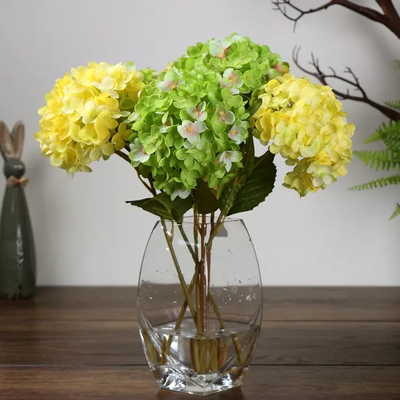 "4 Bushes 18"" Yellow Vase Decoration Artificial Hydrangeas Arrangements"