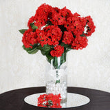 "4 Bushes 18"" Red Artificial Hydrangea Vase Decoration Flowers"