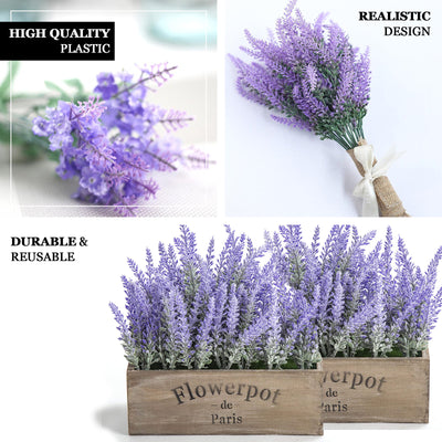 "4 Bushes | 14"" Artificial Lavender Bouquet 