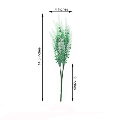 4 Bushes - 14inch White Artificial Lavender Bouquet, Artificial Wedding Bouquet