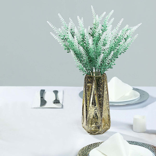 "4 Bushes | 14"" Artificial Lavender Bushes, Artificial Wedding Bouquet - Green/White"