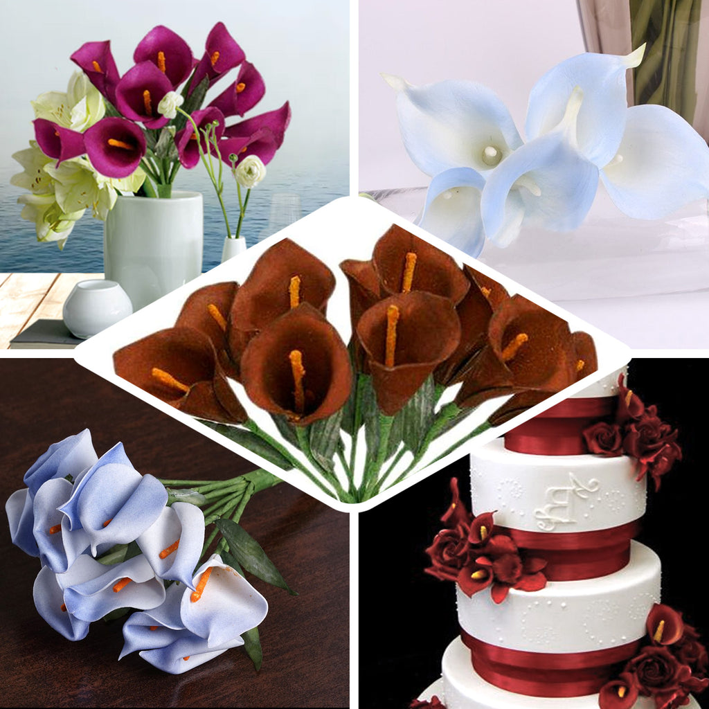 Single Stem 60 Pcs Chocolate Artificial Mini Calla Lily Flowers Tableclothsfactory