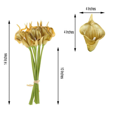 "10 Pack | 14"" Metallic Gold Artificial Calla Lily Flower Stems 