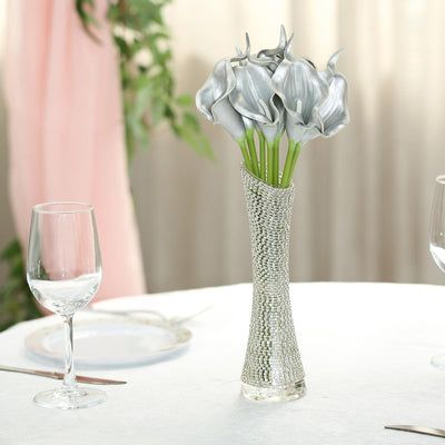 "10 Pack | 14"" Metallic Silver Artificial Calla Lily Flower Stems 