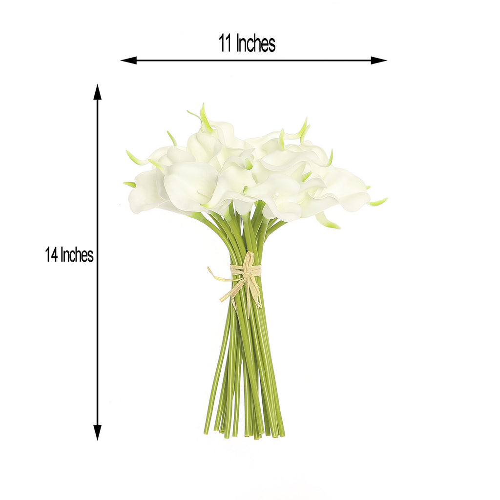 20 Pack 14 Tall White Artificial Calla Lily Flowers Real