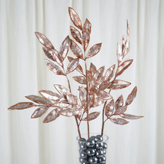 "2 Pack | 28"" Rose Gold Artificial Glittered Bay Leaf Christmas Sprays"