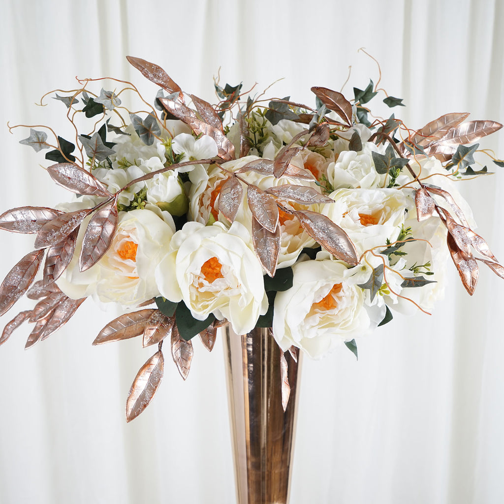 Tableclothsfactory 2 Pack 28 Rose Gold Artificial Glittered Bay Leaf Display Filler Floral Decoration for Wedding Bouquets