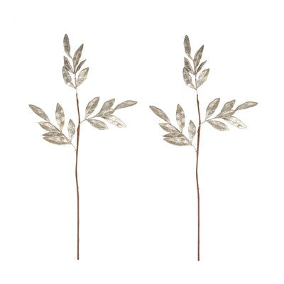 "2 Pack | 28"" Champagne Artificial Glittered Bay Leaf Display Filler Floral Decoration"