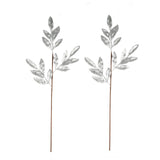 "2 Pack | 28"" Silver Artificial Glittered Bay Leaf Display Filler Floral Decoration"
