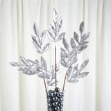 "2 Pack | 28"" Silver Artificial Glittered Bay Leaf Christmas Sprays"