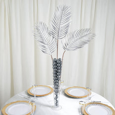 "2 Pack | 31"" Silver Artificial Glittered Palm Leaves Christmas Sprays"