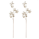 "2 Pack | 32"" Metallic Champagne Artificial Eucalyptus Spray Display Filler Floral Decoration"