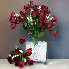 12 Bush Burgundy 180 Rose Buds With Baby Breath Real Touch Artificial Silk Flowers