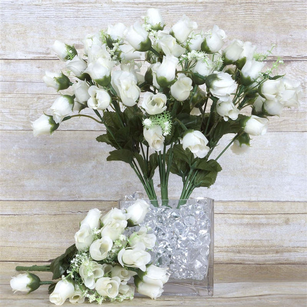 12 Bush Cream 180 Rose Buds With Baby Breath Real Touch Artificial Silk Flowers