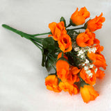 12 Bush 180 pcs Orange Artificial Silk Rose Bud Flowers With Baby Breath