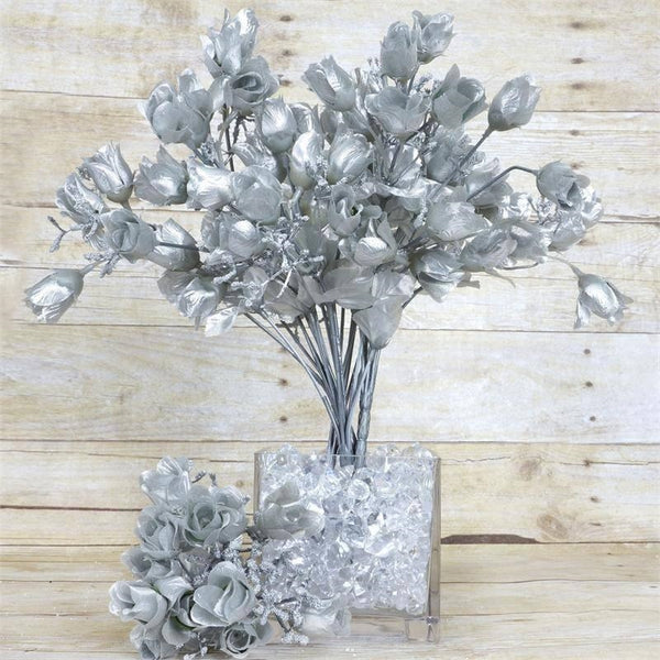 12 Bush Silver 180 Rose Buds With Baby Breath Real Touch Artificial Silk Flowers