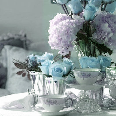12 Bush Turquoise 180 Rose Buds With Baby Breath Real Touch Artificial Silk Flowers