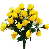 180 Artificial Silk Mini Rose Buds With Baby Breath Wedding Bouquet Vase Centerpiece Decor - Yellow