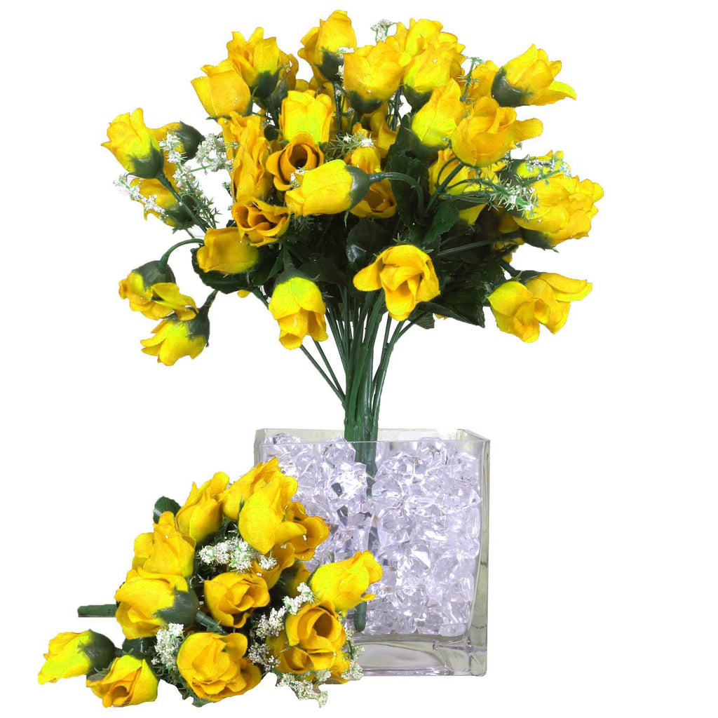 12 Bush Yellow 180 Rose Buds With Artificial Baby S Breath