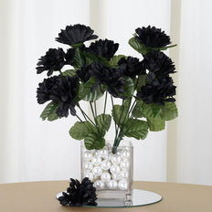 12 Bush 84 pcs Black Artificial Silk Chrysanthemum Flowers