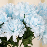 12 Bush 84 pcs Light Blue Artificial Silk Chrysanthemum Flowers