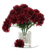 12 Bush 84 pcs Burgundy Artificial Silk Chrysanthemum Flowers