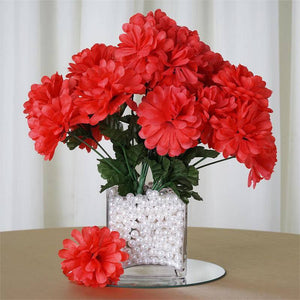 84 Artificial Silk Chrysanthemum Wedding Flower Bush Bouquet Centerpiece Decor - Coral
