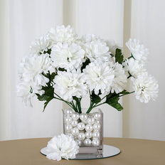 12 Bush 84 pcs Cream Artificial Silk Chrysanthemum Flowers