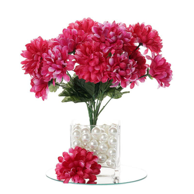 12 Bush 84 pcs Fushia Artificial Silk Chrysanthemum Flowers - Clearance SALE