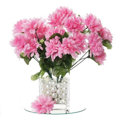 12 Bush 84 pcs Pink Artificial Silk Chrysanthemum Flowers - Clearance SALE
