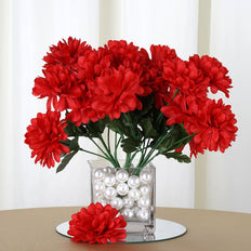 12 Bush 84 pcs Red Artificial Silk Chrysanthemum Flowers