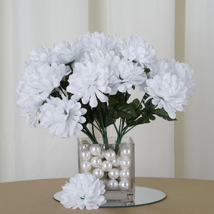 12 Bush 84 pcs White Artificial Silk Chrysanthemum Flowers