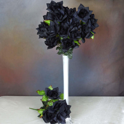 168 Wholesale Artificial Velvet Bloom Roses Wedding Flower Vase Centerpiece Decor - Black