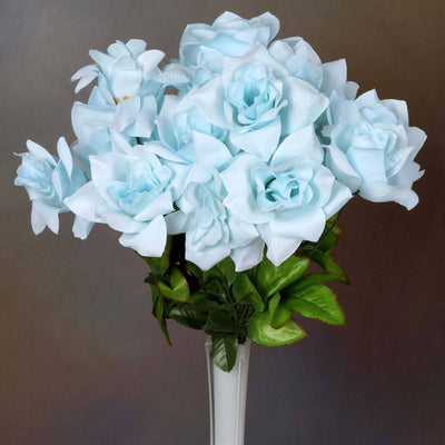 168 Wholesale Artificial Velvet Bloom Roses Wedding Flower Vase Centerpiece Decor - Light Blue