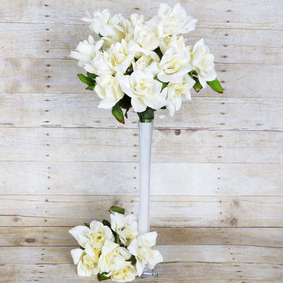 168 Wholesale Artificial Velvet Bloom Roses Wedding Flower Vase Centerpiece Decor - Cream