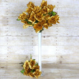 168 Wholesale Artificial Velvet Bloom Roses Wedding Flower Vase Centerpiece Decor - Gold