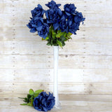 168 Wholesale Artificial Velvet Bloom Roses Wedding Flower Vase Centerpiece Decor - Navy