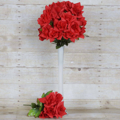 168 Wholesale Artificial Velvet Bloom Roses Wedding Flower Vase Centerpiece Decor - Red