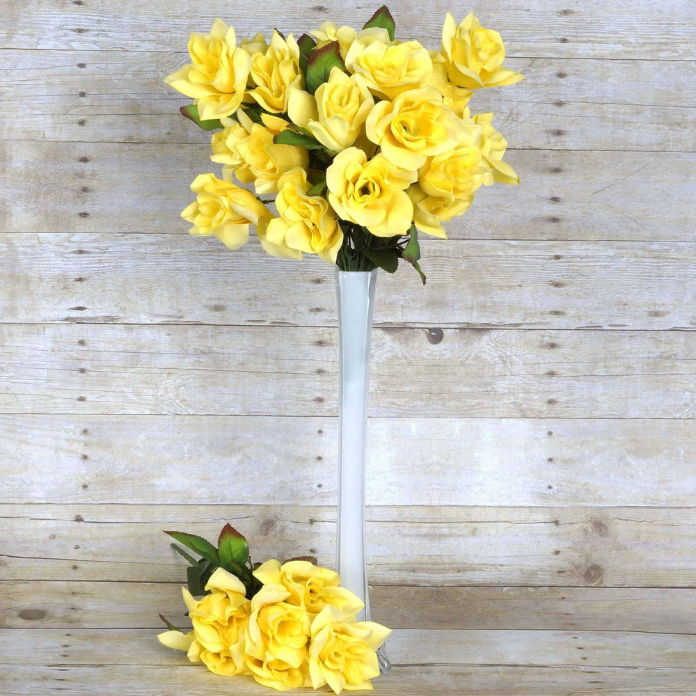 24 Bush 168 Pcs Yellow Artificial Velvet Bloom Roses Flower Bridal ...