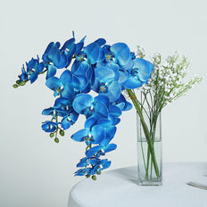 40 Inch | Royal Blue Silk Orchids Stem | Artificial Orchid Flowers