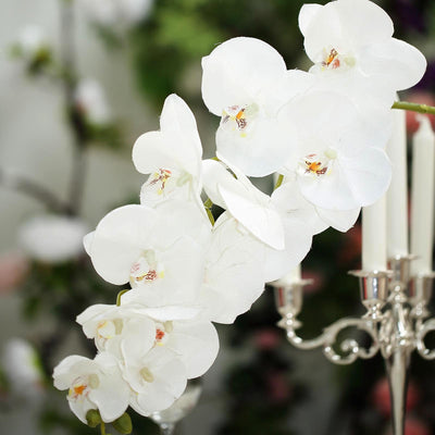 "2 Stems | 40"" White Silk Orchids Stem 